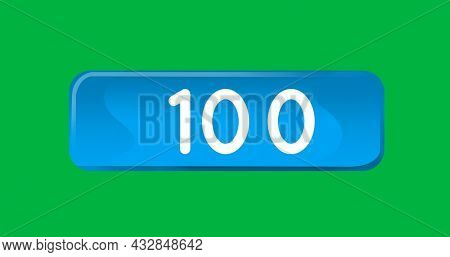 Digital image of numbers counting up inside a blue box on a green background 4k