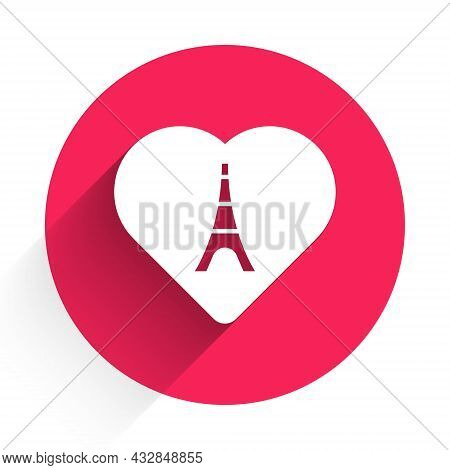 White Eiffel Tower With Heart Icon Isolated With Long Shadow Background. France Paris Landmark Symbo