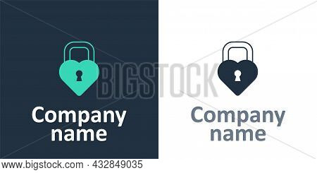 Logotype Castle In The Shape Of A Heart Icon Isolated On White Background. Locked Heart. Love Symbol