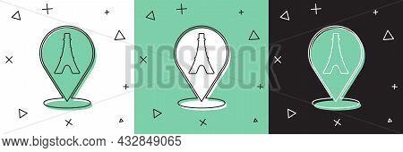 Set Eiffel Tower Icon Isolated On White And Green, Black Background. France Paris Landmark Symbol. V