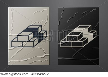 White Stacks Paper Money Cash Icon Isolated On Crumpled Paper Background. Money Banknotes Stacks. Bi