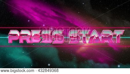Image of game screen with Press Start text written in pink and silver shiny letters and universe and stars moving in background. Vintage image game entertainment concept digitally generated image.