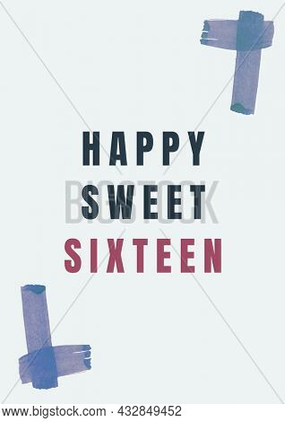 Composition of happy sweet sixteen text with blue corner markers, on a pale grey background. sixteenth birthday greetings card template concept digitally generated image.
