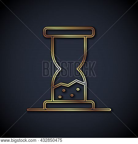 Gold Line Old Hourglass With Flowing Sand Icon Isolated On Black Background. Sand Clock Sign. Busine