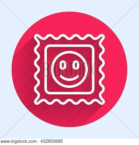 White Line Lsd Acid Mark Icon Isolated With Long Shadow. Acid Narcotic. Postmark. Postage Stamp. Hea