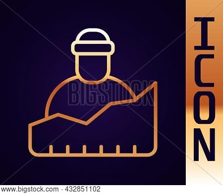 Gold Line Growth Of Homeless Icon Isolated On Black Background. Homelessness Problem. Vector