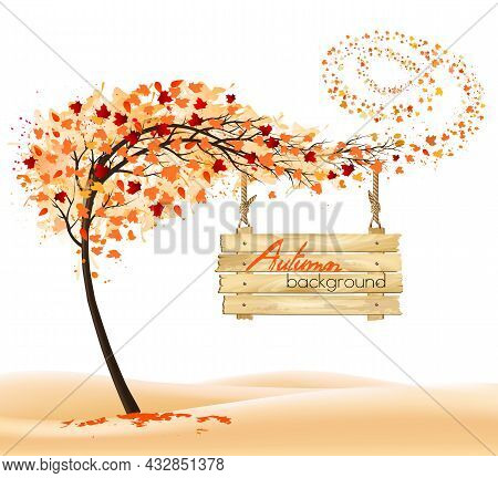 Hello A Gold Autumn.  Autumn Landscape With Colorful Leaves On The Tree And Wooden Sign. Vector Illu
