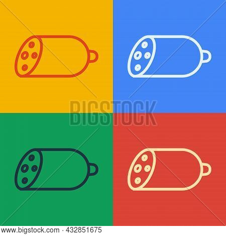 Pop Art Line Salami Sausage Icon Isolated On Color Background. Meat Delicatessen Product. Vector