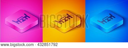 Isometric Line French Cafe Icon Isolated On Pink And Orange, Blue Background. Street Cafe. Table And
