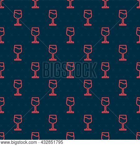 Red Line Wine Glass Icon Isolated Seamless Pattern On Black Background. Wineglass Sign. Vector