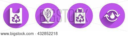 Set Plastic Bag With Recycle, Location With Leaf, Paper Bag With Recycle And Recycle Clean Aqua Icon