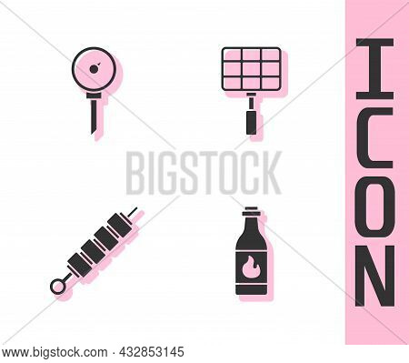 Set Tabasco Sauce, Kitchen Thermometer, Grilled Shish Kebab And Barbecue Steel Grid Icon. Vector