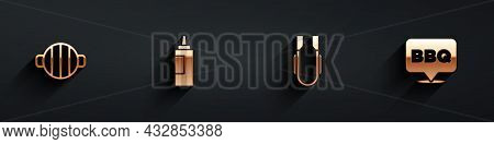 Set Barbecue Grill, Sauce Bottle, Meat Tongs And Icon With Long Shadow. Vector