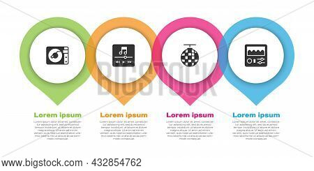 Set Vinyl Player With Vinyl Disk, Music, Disco Ball And Drum Machine. Business Infographic Template.