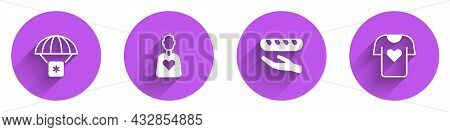 Set Humanitarian Aid, Volunteer, Donation Food And Clothes Donation Icon With Long Shadow. Vector