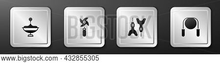 Set Whirligig Toy, Pinwheel, Dart Arrow And Jump Rope Icon. Silver Square Button. Vector