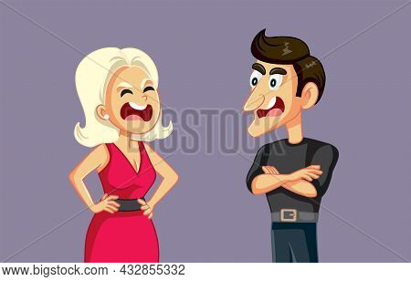 Husband And Wife Fighting In Loud Voice Insulting Each Other
