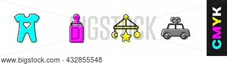 Set Baby Clothes, Bottle, Crib Hanging Toys And Toy Car Icon. Vector