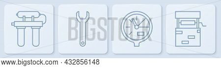 Set Line Water Filter, Water Meter, Wrench Spanner And Well. White Square Button. Vector