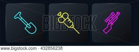 Set Line Shovel, Sniper Rifle With Scope And Syringe. Black Square Button. Vector