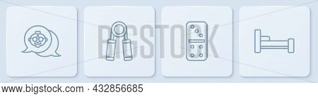 Set Line Grandmother, Domino, Sport Expander And Bed. White Square Button. Vector