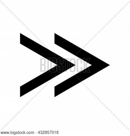 Black Fast Forward. Forward Icon. Arrow Vector Collection. Navigation Pointer. Vector Illustration.