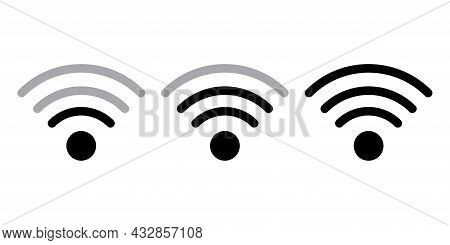 Wi-fi Signal Icon Set. Connect Icon. Internet Connect. Digital Communication. Vector Illustration. S