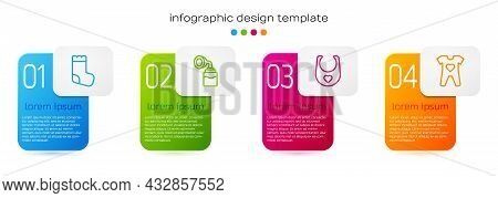 Set Line Baby Socks, Breast Pump, Bib And Clothes. Business Infographic Template. Vector