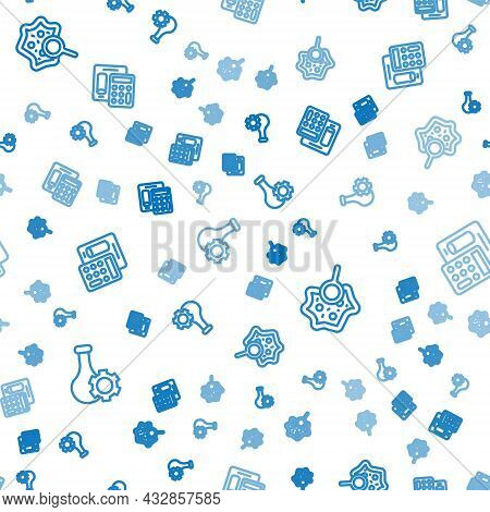 Set Line Test Tube, Microorganisms Under Magnifier And Calculator On Seamless Pattern. Vector