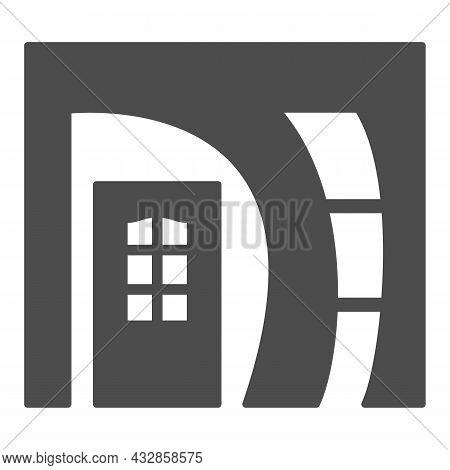Arched Doorway Entrance Solid Icon, Interior Design Concept, Arch Doorway Front Door Vector Sign On