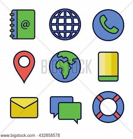 Flat Icon Set Of Contact In Primary Color. Perfect For Design Element Of Business Card And Personal