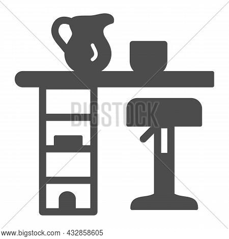 Bar Counter With Stool, Cup And Pot Solid Icon, Interior Design Concept, Bar Table Vector Sign On Wh