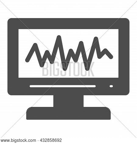 Sound Level On Monitor Solid Icon, Sound Design Concept, Sound Wave Curve On Screen Vector Sign On W