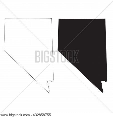 Nevada Map On White Background. Nevada State Sign. Nevada Map Black Outline State Usa Symbol. Flat S
