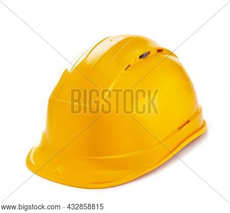 Construction helmet isolated on white background. Hardhat at white