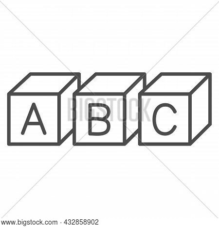 Abc Cubes Alphabet Thin Line Icon, Linguistics Concept, Toy Cubes With Letters Vector Sign On White