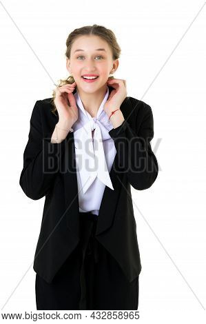 Happy Joyful Student Girl In Formal Black Suit. Portrait Of Smiling Young Business Woman Wearing Bla