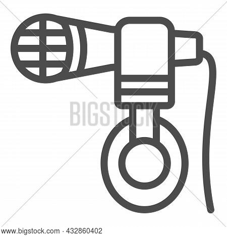 Headphones Hang On Microphone Line Icon, Sound Design Concept, Mic And Headset Vector Sign On White