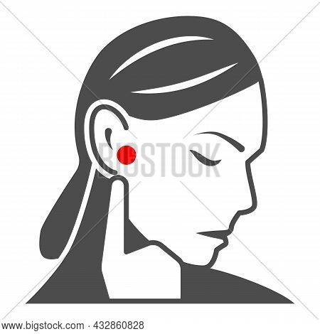 Woman Ear Hurts Solid Icon, Body Pain Concept, Person Has Pain In The Ears Vector Sign On White Back