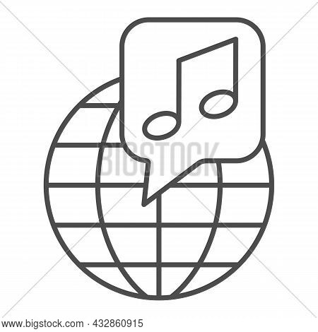 Globe With Note, Music Worldwide Thin Line Icon, Music Concept, International Music Vector Sign On W