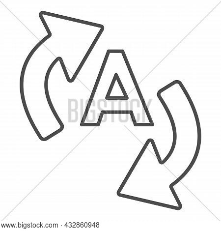Letter A With Two Arrows, Translation Thin Line Icon, Linguistics Concept, Interpretation Vector Sig