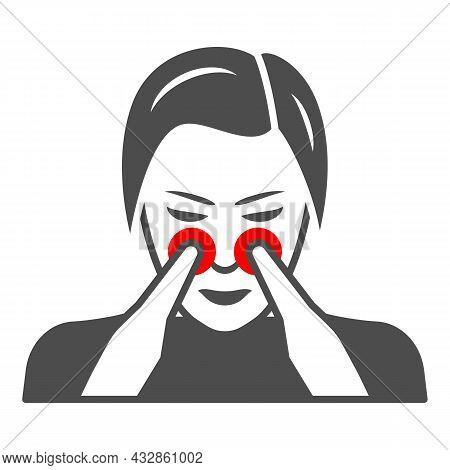 Woman Nose Disturbs Solid Icon, Body Pain Concept, Person Has Nasal Pain Vector Sign On White Backgr