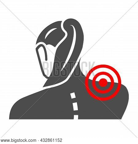 Woman Neck Hurts Solid Icon, Body Pain Concept, Neck Pain Vector Sign On White Background, Glyph Sty