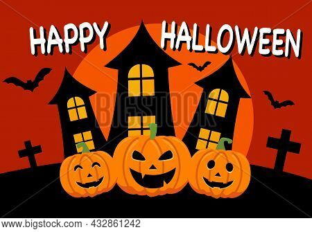 Pumpkins With Castles, Bats And The Moon In Flat Design. Happy Halloween Festival In Concept Vector