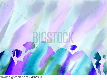 Multicolored Watercolor Stains Hand Drawn Abstract Background. Blue, Green, Lilac, Violet And Purple