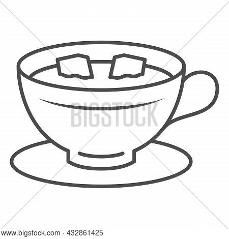 Cup Of Coffee With Lumps Of Sugar On Saucer Thin Line Icon, Hot Beverages Concept, Mug Vector Sign O