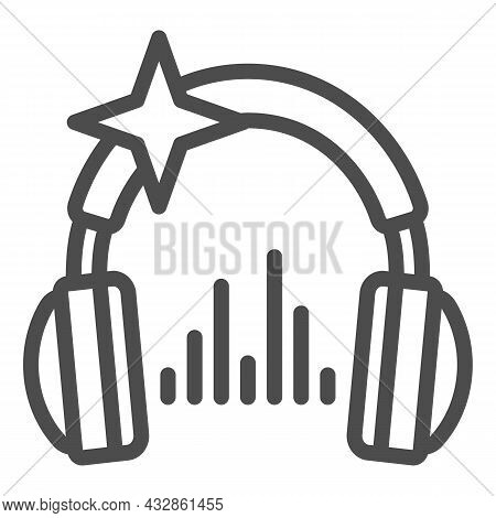 Headphones With Star And Music Sound Wave Line Icon, Sound Design Concept, Headset Vector Sign On Wh