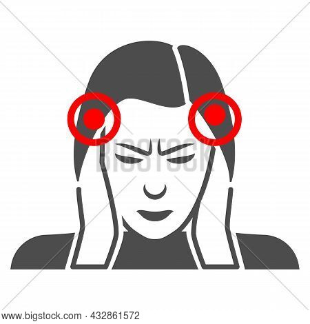 Woman Temples Hurt Solid Icon, Body Pain Concept, Person Has Pain In The Temples Vector Sign On Whit