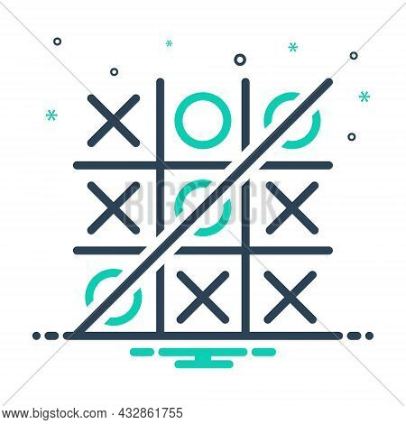 Mix Icon For Toe Tic-tac-toe Competition Crisis-cross Game Grid Strategize