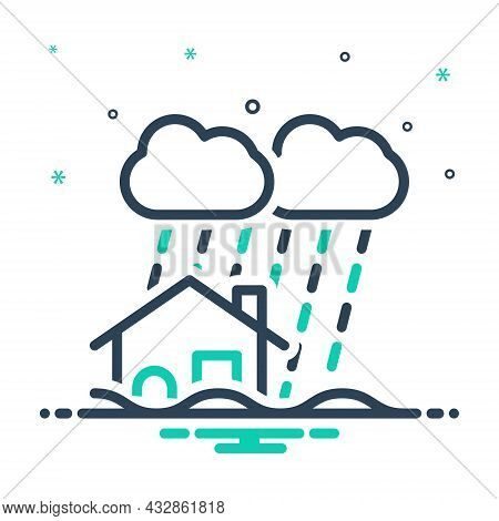 Mix Icon For Disaster Calamity Adversity Catastrophe Flood Hurricane Earthquake Water-damage Natural